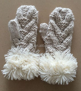 New Fashion Girls' Cute Soft Chunky Knitting Women Long Furry Fold Up Mittens