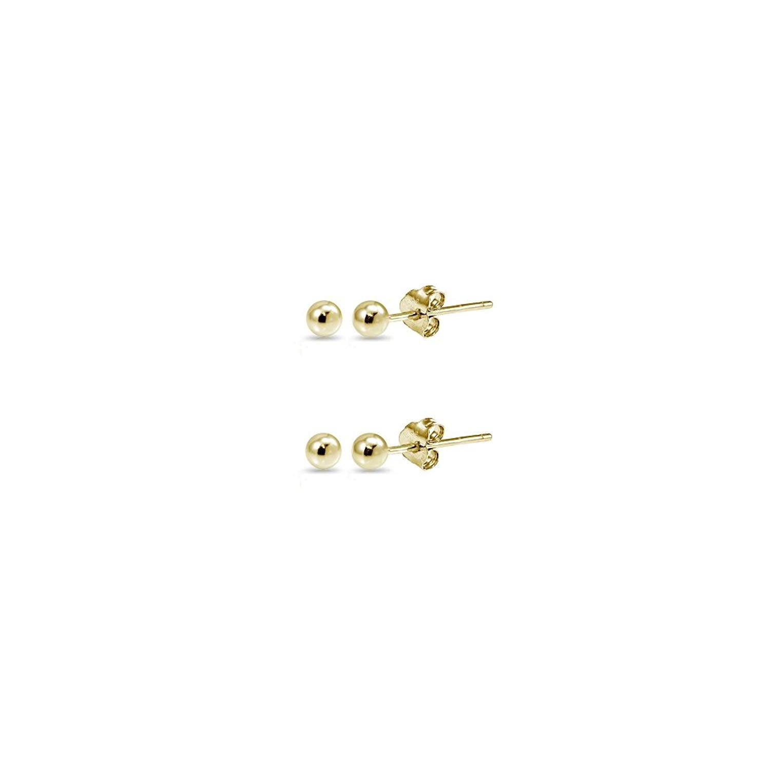 14K Gold 3mm Polished Tiny Ball Bead Unisex Stud Earrings, Set of 2 Pairs