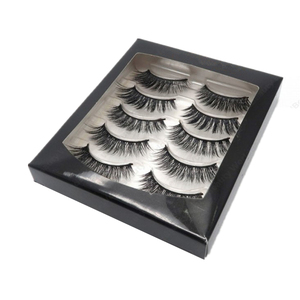 2019 Black wholesales fancy China custom transparent clearly pvc 5 pairs eyelash extension cosmetics packaging gift card box