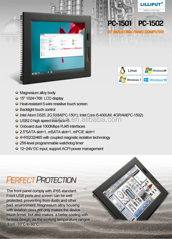 Lilliput 15 inch IP65 RJ45 Industrial Panel PC Touchscreen Computer