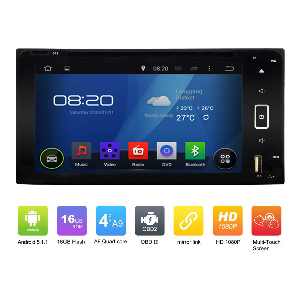OEM Pure 2DIN ANDROID 5.1.1 CAR DVD GPS for <strong>Toyota</strong> <strong>Prado</strong> Quad Core Touch Screen Car GPS Navgation radio audio