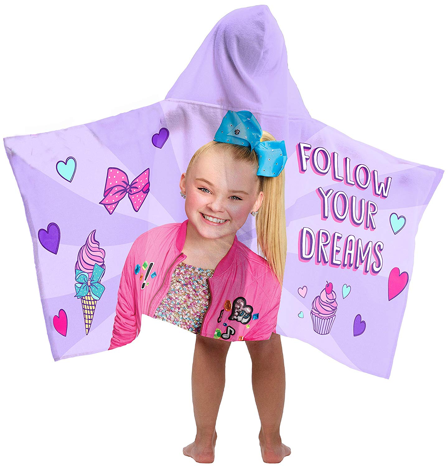 "Nickelodeon JoJo Siwa Follow Your Dreams Super Soft & Absorbent Kids Hooded Bath/Pool/Beach Towel- Fade Resistant Cotton Terry Towel, 22.5"" Inch x 51"" Inch (Official Nickelodeon Product)"