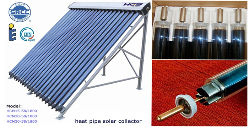 2015 New Heat Pipe Parabolic Manifold Solar Collector