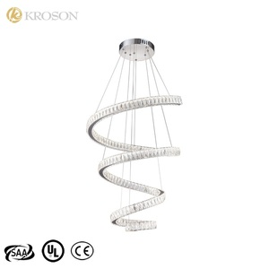 Modern Art Minimalist Decorative Acrylic Led Lustre 8 Lights High Ceiling Lamp Crystals Chandelier