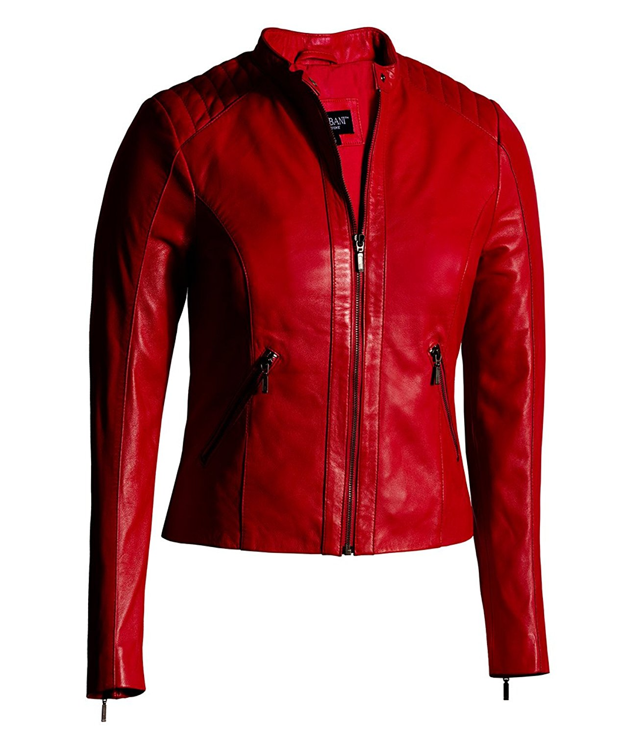 Red Leather Jacket for Women Moto Fashion – Genuine Leather Jacket (Small, Red)