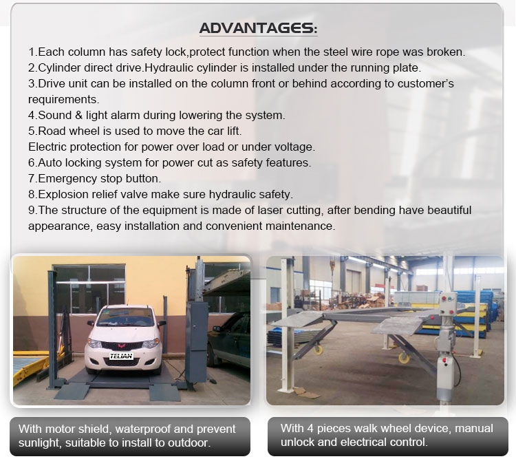 Car storage 4 post parking lift with manual control