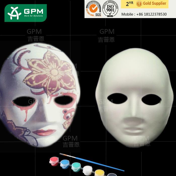 En Ucuz Komik Beyaz Yarım Yüz Kağıt Maske Okulda Boyama Için Buy