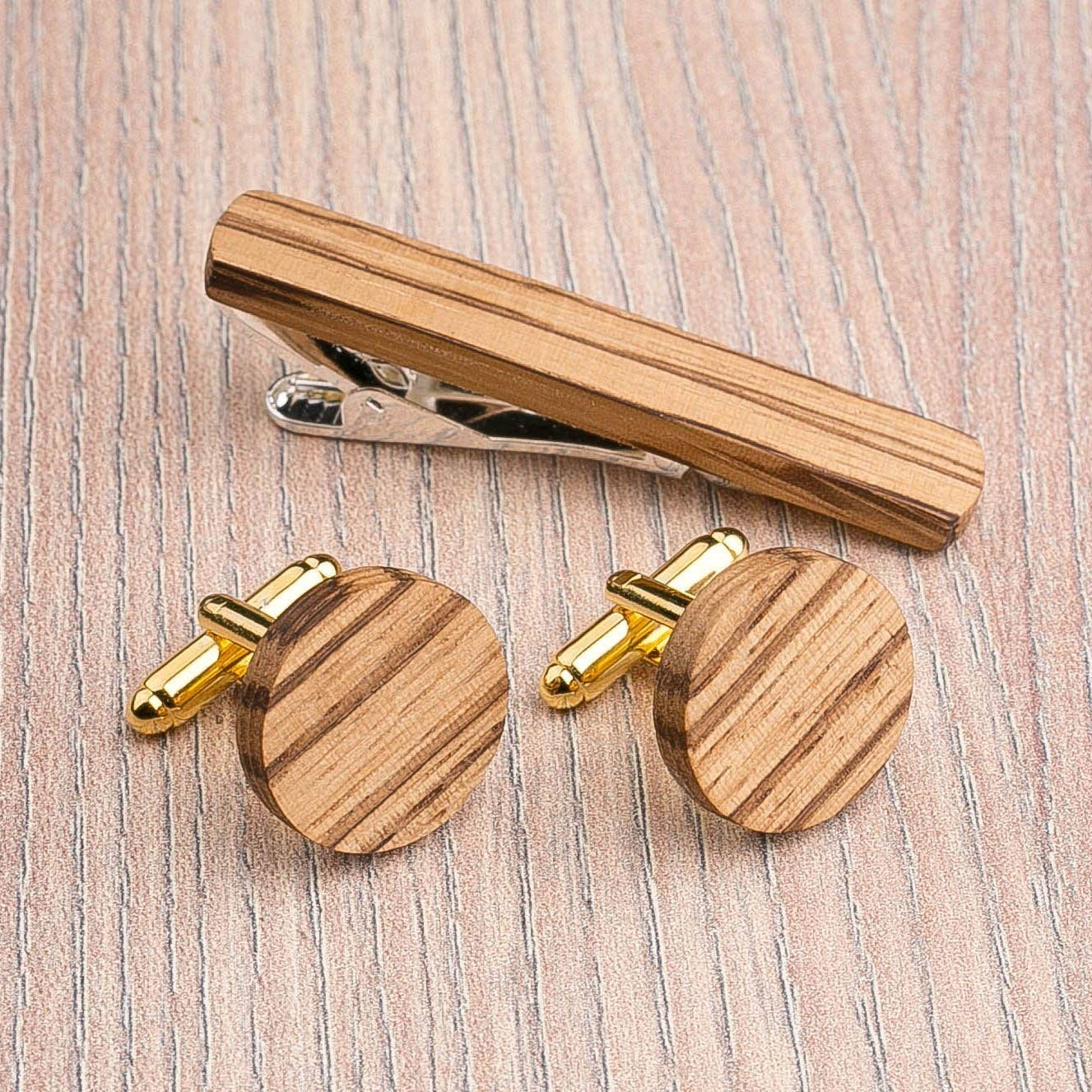 Round Wood Cufflinks and Tie Clip Set. Multicolor Zebrano wood. Custom personalized initial monogram men gift. Engraved jewelry for men. Wedding groomsmen groom gifts. Exclusive Boss gift