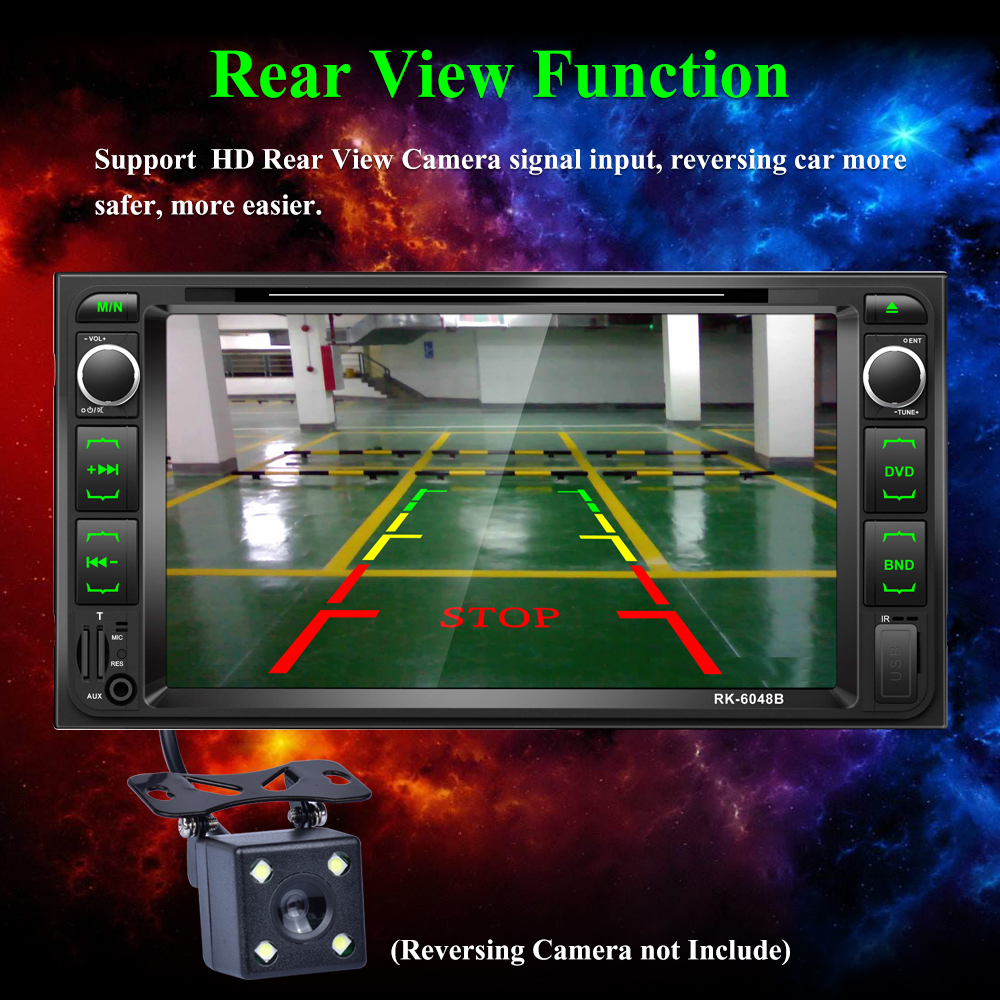 7inch capacitive touch screen universal  car radio with DVD player bt rearview camera for toyota