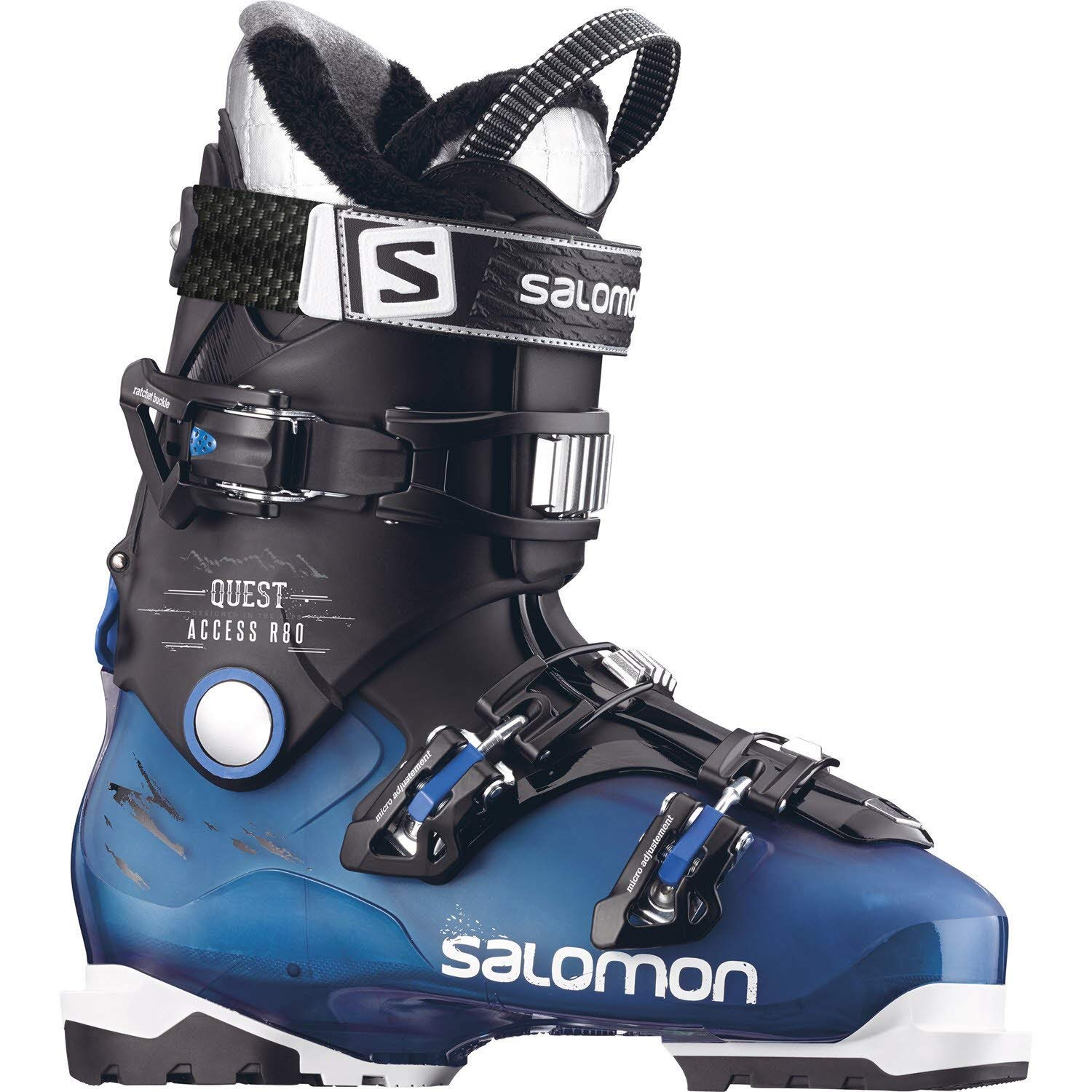 Get Quotations · Salomon New Quest Access R80 Alpine Downhill ski Boots -  26.5 Blk 969935622