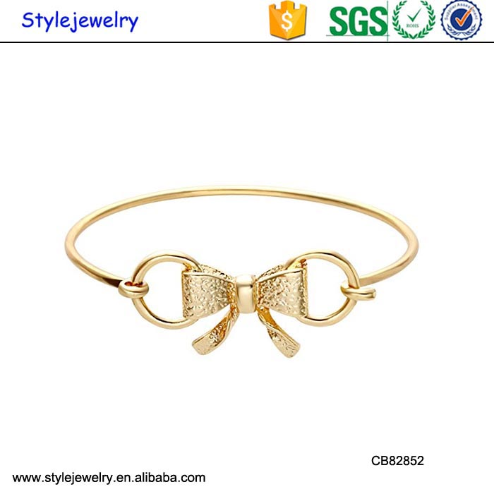 CB82852 New trendy ladies 18K gold bowknot slave yellow gold cuff bracelet