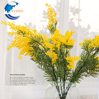 Artificial yellow flower nylon ball DIY wedding Party decoration plastic pompom flores Silk plants flower wreath