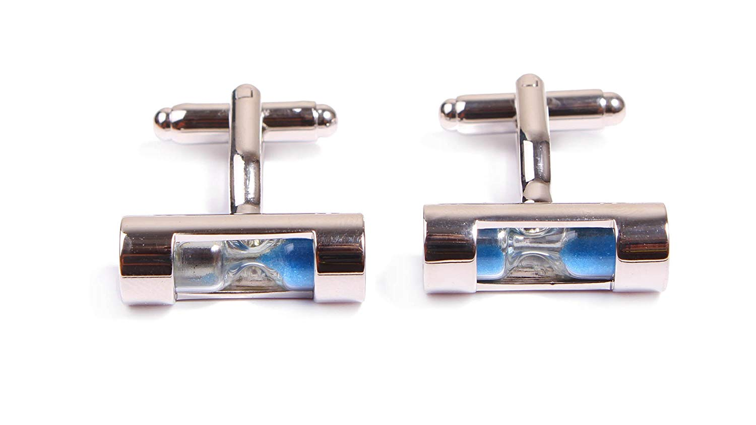 Simplicity Blue Brass, Steel-Plated Cufflinks with hourglasses Modern