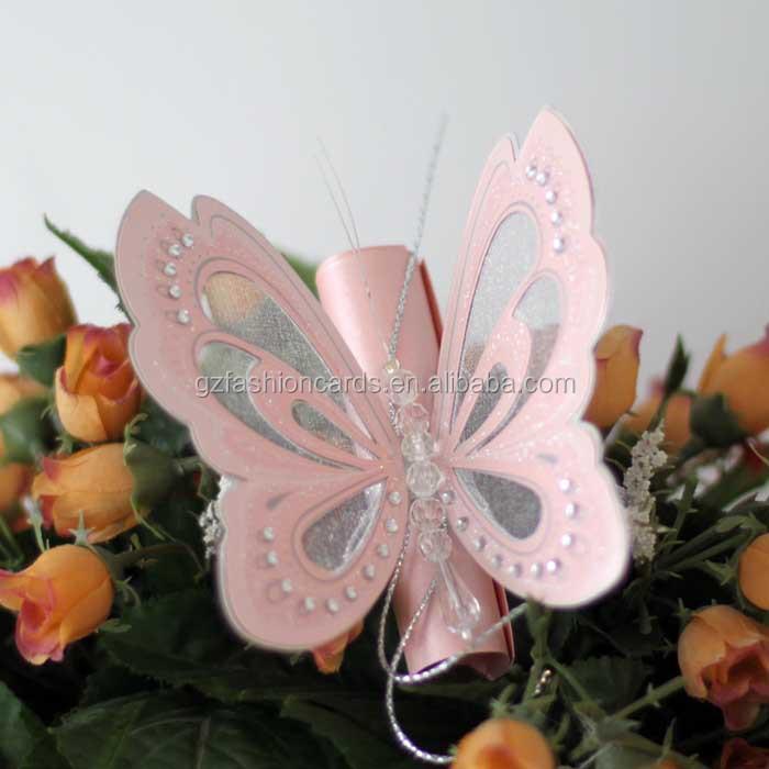 Romántico Rosa 3d Hacer Pergamino Mariposa Pequeña Invitación De La Boda Buy Invitación De Boda De Mariposa Pequeña Invitación De Boda De Mariposa