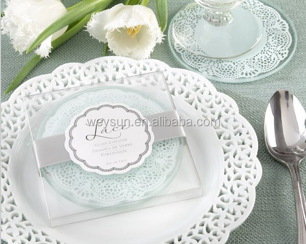 Lace Exquisite Frosted Glass Coasters wedding favors and <strong>gifts</strong> 1box=2pcs DHL Freeshipping
