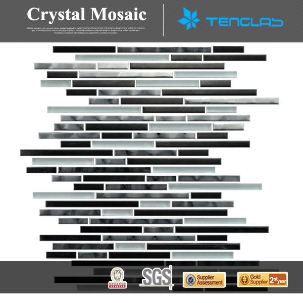 8MM wholesale crystal crackle swimming pool mix stone stainless steel glass mosaic