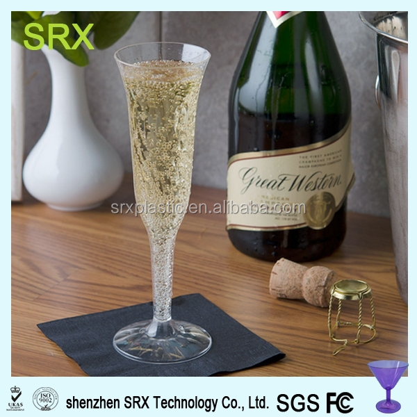 custom oem 5 oz. Clear Plastic 1 Piece Champagne Flute in factory price