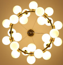 Round living room decoration white color glass ball Chandelier pendant light