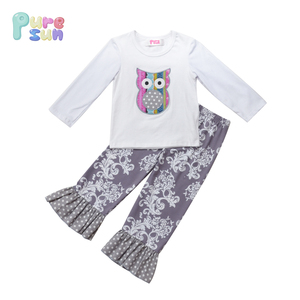 Customized Long Sleeve White Owl Kids T shirts Plain And Floral Printed Pants Baby Girl Fall Outfit