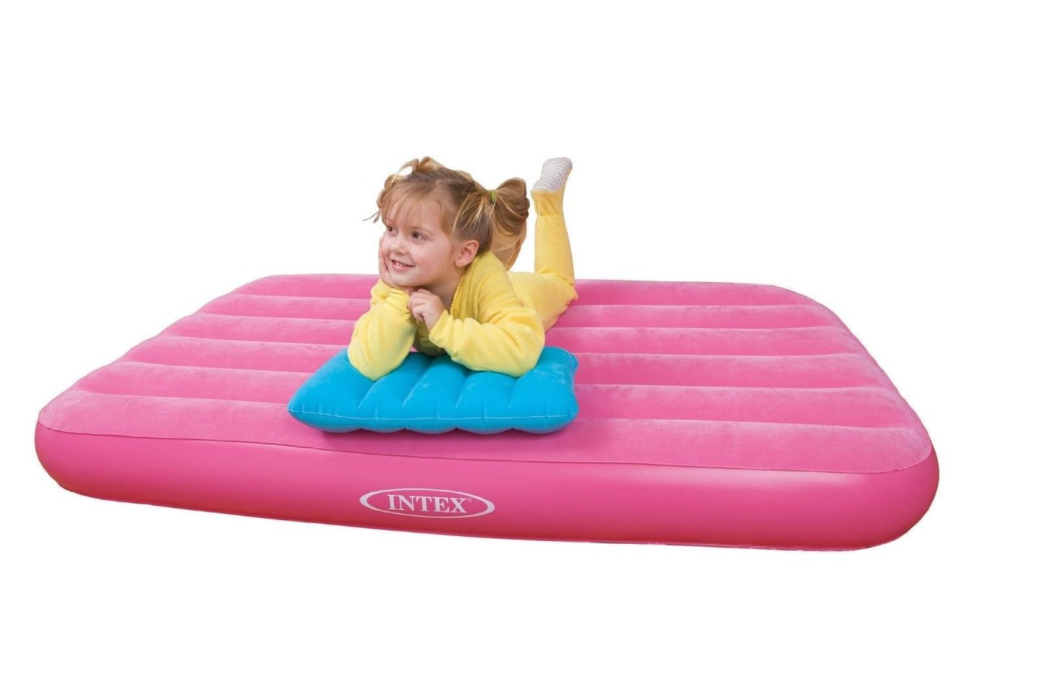 Air-Intex-Mattresses-Inflatable -Downy-Queen-Children-Sleeping Bed- living - outside - beach -2 - people - relax./Kids Bed with Pillow Pink