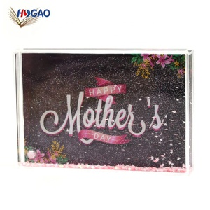 Chinese supplier mother day promotional gift funny souvenir gift photo frame snow globe for family picture