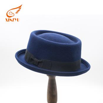 Flat Top Fedora Hat Custom Logo Band Straw Hat Unisex Wool Felt Hat ... 5e2d6a87a89