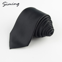 Factory direct customized high-grade cheap polyester designable mens pure black 7cm neck ties