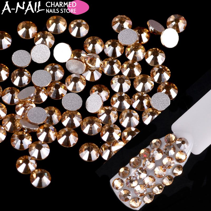 Excellent quality Round Flat Back Crystal Non hotfix Nail Art Rhinestone Glass Crystal for 3d nail art rhinestones