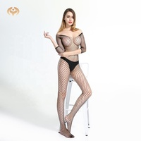 Huayi factory fancy design black mesh fishnet open crotch sexy mature sheer nylon fashion hot bodystocking body stocking
