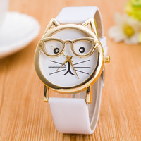Free shipping cute and lovely glasses cat pu leather cheap wrist watch for teenager