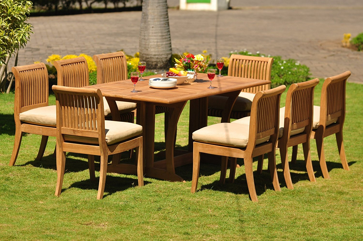 """Grade-A Teak Wood Dining Set 8 Seater 9 Pc: 69"""" Warwick Dining Rectangle Table And 8 Giva Armless Chairs #WFDSGV34"""