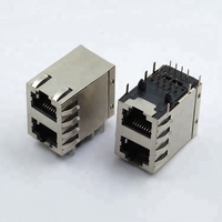 shielded connector 2*1 ports 10p8c vertical through hole double rj45 connector with filter transformer led