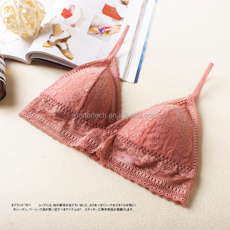 f9faeafaa9 Floral lace Sheer Bralettes LACE BRALETTE lacy Triangle Bra Bras Bustier  crop top padded Mesh Lined