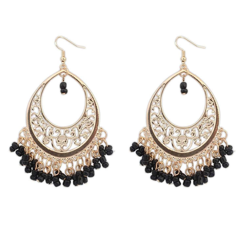 Hot Sale! Earrings,kaifongfu Bohemian Ethnic Style Hollow Beaded Tassel Earrings
