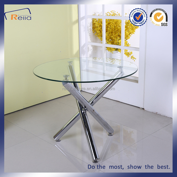 Ordinaire Round Glass Dining Table With 3 Metal Legs