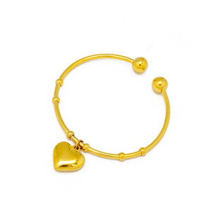 Latest Design Plain Stainless Steel Girl's Gift Heart Charm Expandable Bangle