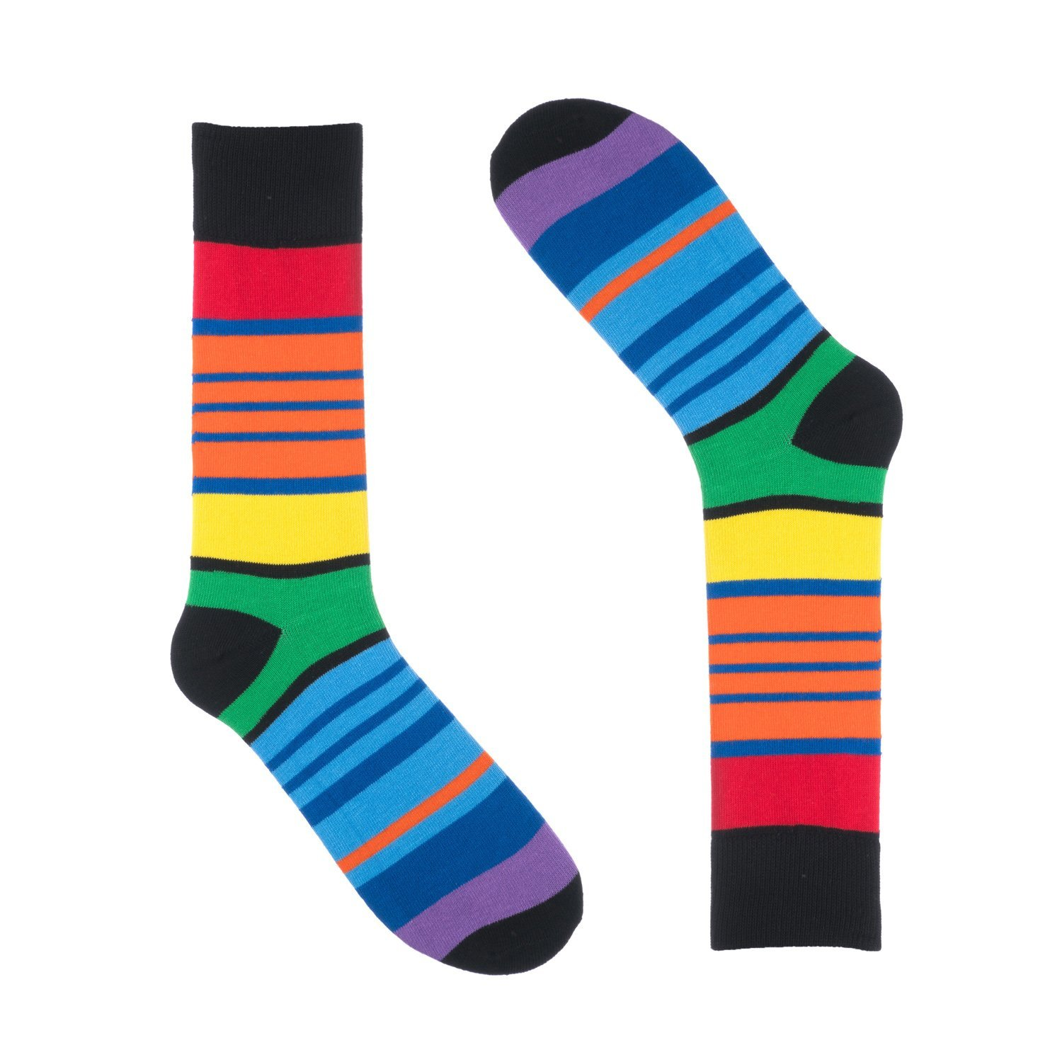 aa052f6687e3 Get Quotations · Ivory + Mason Striped Socks for Men - Dress Sock -  Colorful - Black Colorful -