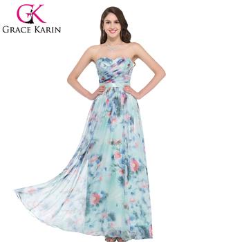 Gk Flower Pattern Strapless Chiffon Long Printed Flora Prom Dress 8 Size Us  2~16 Gk000004 - Buy Flora Prom Dress,Long Prom Dress Patterns,Printed Prom  ...