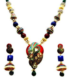 4de763bf2341 Vatika étnico tradicional meenakari collar pendientes con cadena de cuentas  joyería