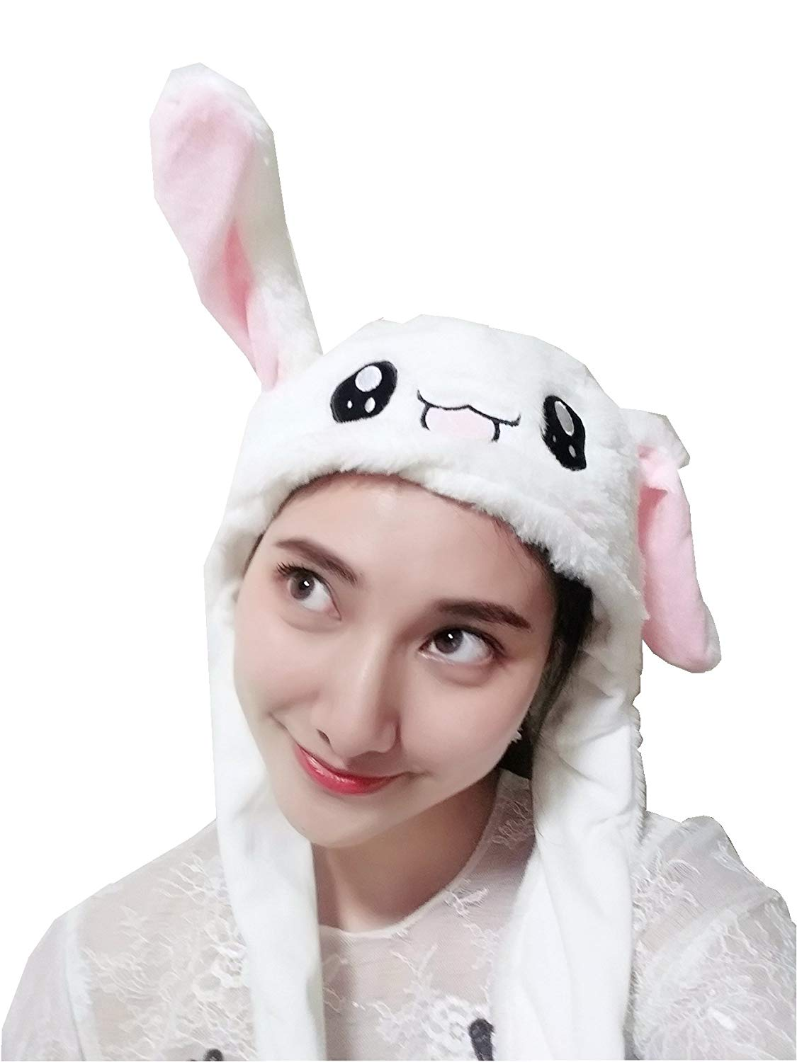 56342aa4982 Funny Rabbit Ear Hat When You Pressing The Paws Bunny Ears Can Shake Cute  White Animal