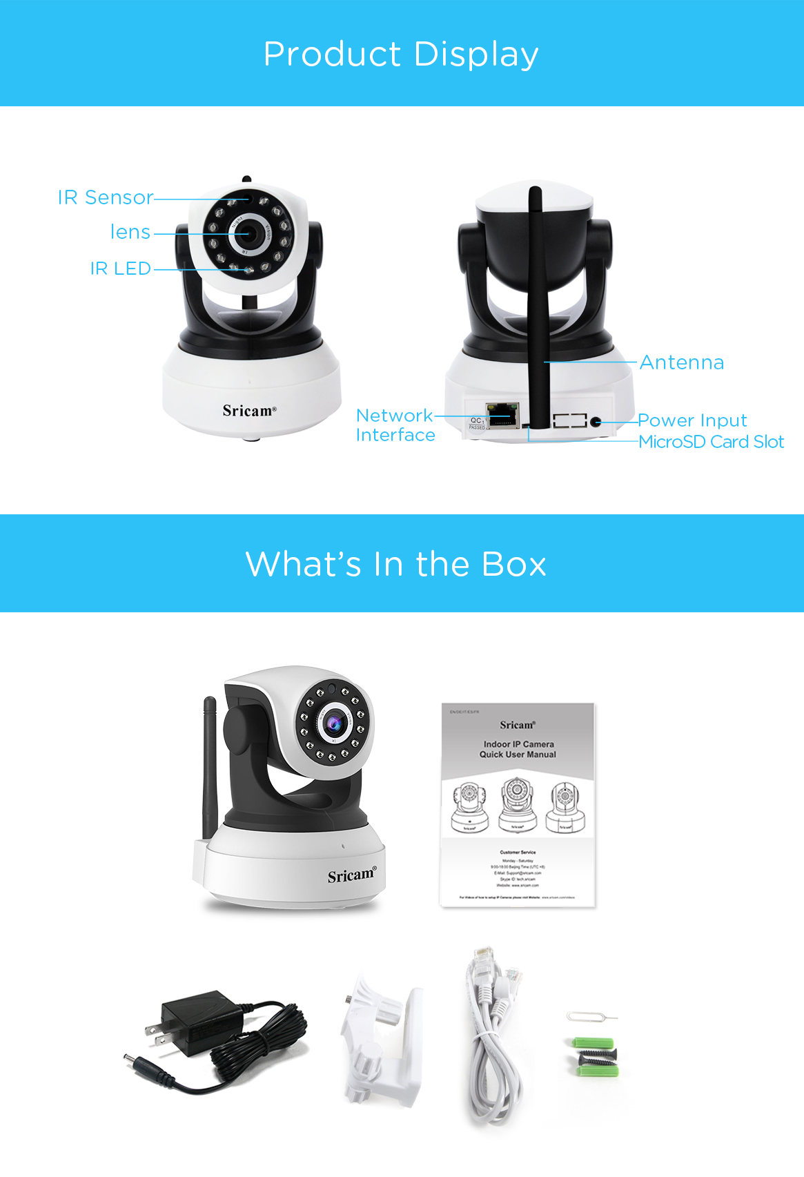 Sricam SP017 HD 1080P Camera Wireless P2P Security CCTV IP Camera 2.0 Megapixel 1080P  CCTV Camera Audio