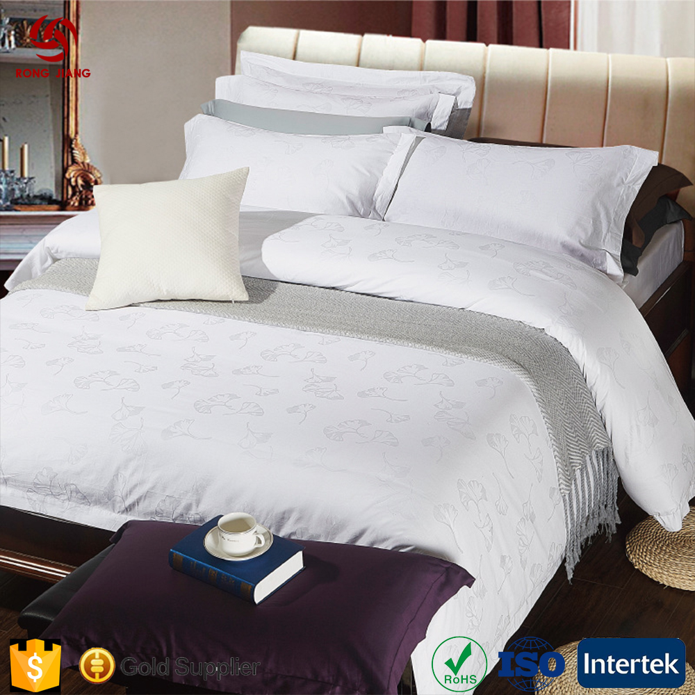 Wholesale hotel linen White Cotton Satin Embroidery four piece