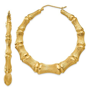 14k Gold Plated Hoop Bamboo Earrings