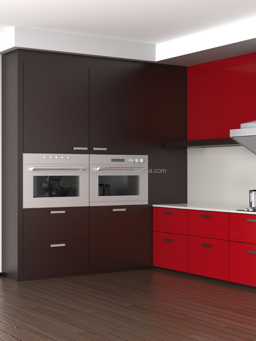 Lacquered coffee color modern kitchen tall pantry cabinet