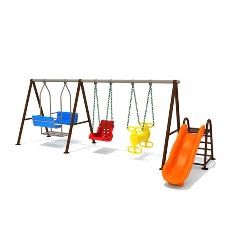 High Quality Children Metal Frame Outdoor Playground Four Seat Swing With Slide