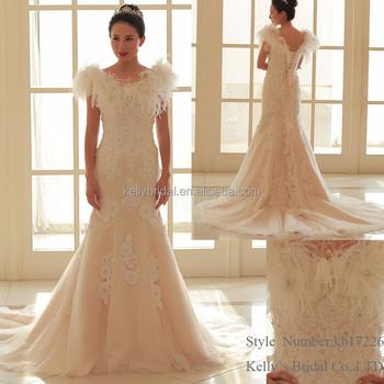 2017 Luxury Appliqued Cap Sleeve Peach Color Mermaid Wedding Gown Dress