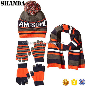 orange gloves hat and scarf set cashmere knit scarf glove and hat set
