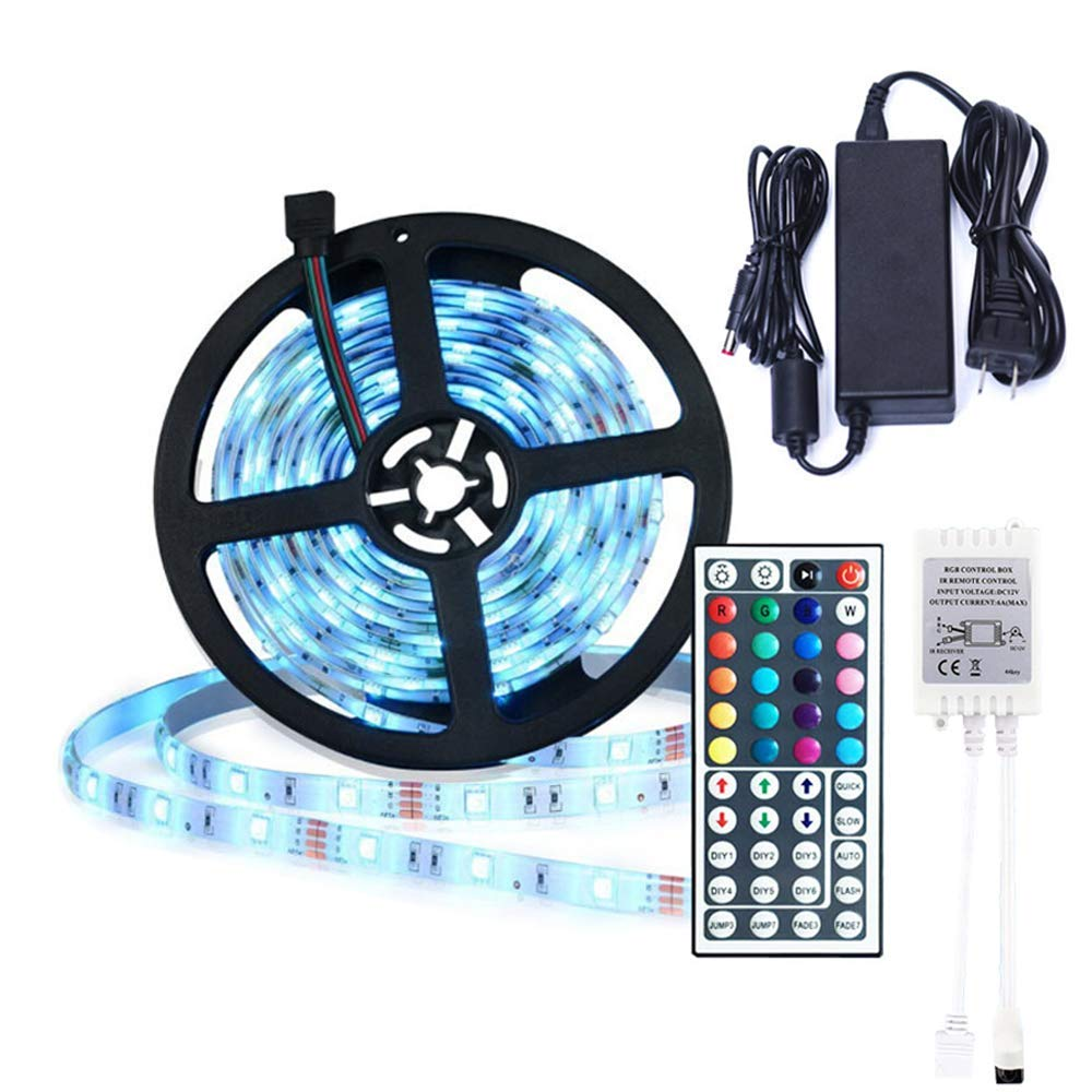 comboss 12V DC LED Light Strip kit, 16.4Ft 150 5050 SMD LEDs RGB Waterproof LED Strip Lighting with 44 Key Remote Controller & Power Adapter for Home Kitchen Decor