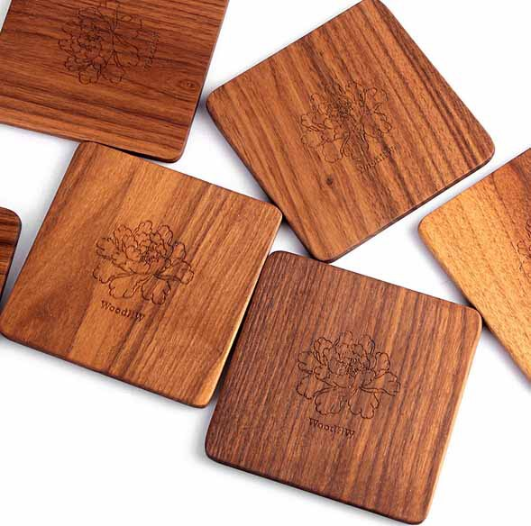 Walnut Wood Coaster Tea Coffee Cup Mat Kitchen Table Decor Heat Resistant Square Drinks Mats