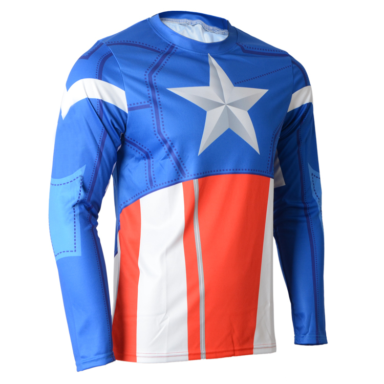 4ff019e01 Get Quotations · 2015 cycling jersey captain America long sleeves ropa  ciclismo bike cicicleta sports jersey mtb bicycle riding